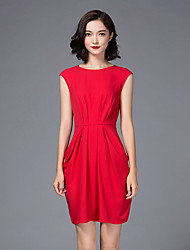 LIFVER Women's Round Neck Sleeveless Above Knee Dress - DT114