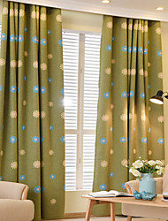 cheap -Rod Pocket Grommet Top Tab Top Double Pleat Pencil Pleat Two Panels Curtain Modern European Mediterranean Neoclassical Country, Embroidery