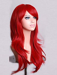 cheap -Synthetic Wig Curly / Natural Wave Asymmetrical Haircut Synthetic Hair Natural Hairline Red Wig Women's Medium Length / Long Cosplay Wig