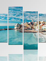 VISUAL STAR®Seascape Picture Print on Canvas with Wood Frame Blue Ocean Art Print Ready to Hang