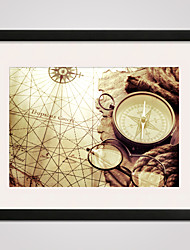Framed Canvas Print Art The Map and The Compass 16x20inch for Wall Decoration Ready To Hang