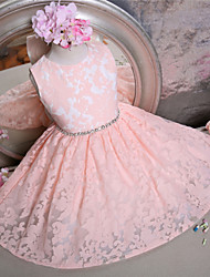 cheap -A-Line Short / Mini Flower Girl Dress - Lace Sleeveless Jewel Neck with Bow(s) Sash / Ribbon by LAN TING Express