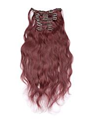 baratos -Com Presilha Extensões de cabelo humano Onda de Corpo 7pcs / Pacote 20 polegadas 15