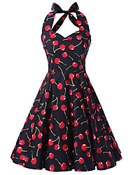 Women's Black Cherry Print Floral Dress , Vintage Halter 50s Rockabilly Swing Dress
