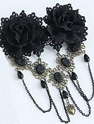 Lolita Jewelry Gothic Lolita Headwear Victorian Black Lolita Accessories Headpiece Lace For Lace Artificial Gemstones