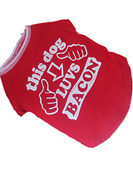 economico -Cane T-shirt Abbigliamento per cani Traspirante Cosplay Lettere & Numeri Rosso/Bianco Costume Per animali domestici