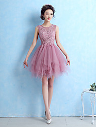 A-Line Fit & Flare Jewel Neck Short / Mini Lace Tulle Cocktail Party Homecoming Prom Dress with Lace by Yaying