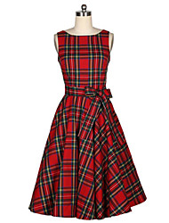 cheap -Women's A Line Dress - Check, Bow