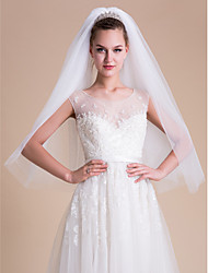 cheap -Two-tier Cut Edge Wedding Veil Blusher Veils Elbow Veils Fingertip Veils With Flower Comb Tulle
