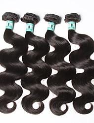 Cappelli veri Brasiliano Ciocche a onde capelli veri Ondulato naturale Extensions per capelli 4 pezzi Nero