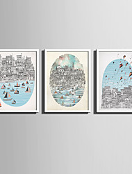 E-HOME® Framed Canvas Art, City By The Sea Series Framed Canvas Print One Pcs