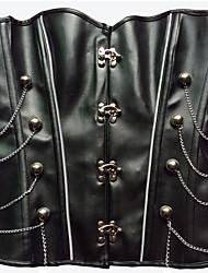 cheap -YUIYE® Women Sexy Lingerie Waist Training Corset Bustier Tops Shapewear Waist Cincher Black PU Overbust Corset Plus Size