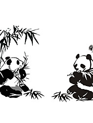 cheap -Lovely Panda Eat Bamboo Wall Stickers Fashion PVC Animals Bedroom Living Room Wall Art Wall Decals