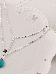 cheap -Women's Layered Pendant Necklace / Layered Necklace  -  Turquoise Drop Tassel, Simple Style, Fashion Silver Necklace For Party, Daily, Casual