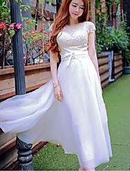 Swing Vestido Boho Patchwork Decote Redondo Longo Sem Manga Branco Seda / Poliéster Verão Cintura Alta