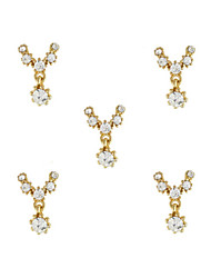 cheap -10pcs Gold Necklace with Clear Rhinestone 3D Charm Alloy Nail Art Decoration