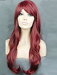cheap -Synthetic Wig Curly Layered Haircut Synthetic Hair Natural Hairline Burgundy Wig Women's Long Carnival Wig / Fan Wig Capless Party /