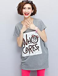 Courte Tee Shirt Robe Femme Décontracté / Quotidien simple Actif,Imprimé Col Arrondi Mini Manches Courtes Rose Gris Coton EtéTaille