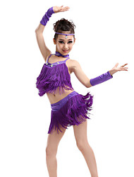 cheap -Latin Dance Outfits Performance Polyester / Spandex Tassel / Crystals / Rhinestones Sleeveless High Top / Skirt / Gloves
