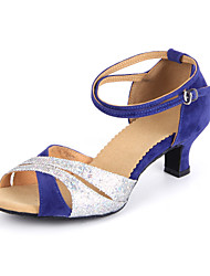 "Women's Latin Ballroom Suede Leatherette Sandal Buckle Cuban Heel Black Royal Blue 2"" - 2 3/4"" Non Customizable"