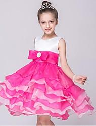 economico -un vestito dalla ragazza di fiore della lunghezza del tè a-line - collo di giada sleeveless del raso con il nastro dalla moda di hua cheng