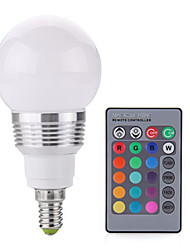 cheap -2W E14 LED Globe Bulbs A60(A19) 1 COB 250 lm RGB RGB K Dimmable Remote-Controlled Decorative AC 85-265 V 1pc