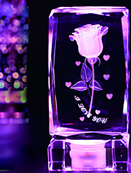 Недорогие -1шт Хрустальная роза декоративные изделия для меблировки подарки на День Святого Валентина подарок огни Светодиодная лампа