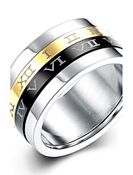 cheap -lureme® Classic Gold Silvery Black Spinner Stainless Steel Roman Numerals Mens Womens Ring