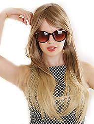 זול -פאות סינתטיות ישר בלונד תספורת אסימטרית שיער סינטטי 22 אִינְטשׁ שיער טבעי בלונד פאה בגדי ריקוד נשים ארוך ללא מכסה חום מוזהב בראון