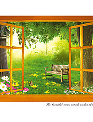 Vintage Window Garden Scenery Wall Stickers Fashion PVC Living Room Wall Decals Removable