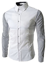 Men's Striped / Patchwork Casual / Work / Formal Shirt,Cotton / Polyester Long Sleeve Blue / White