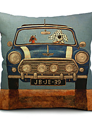 1Pcs Cartoon Lovely Dog Drive A Car Cotton Pillow Cover