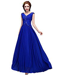 A-Line V-neck Floor Length Stretch Satin Formal Evening Dress with Pearl Detailing by SG