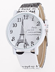 cheap -Women's Quartz Wrist Watch Casual Watch Leather Band Flower Eiffel Tower Fashion White Blue Brown Khaki