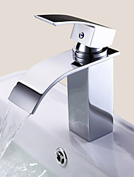 cheap -Contemporary Centerset Waterfall Ceramic Valve One Hole Single Handle One Hole Chrome, Bathroom Sink Faucet