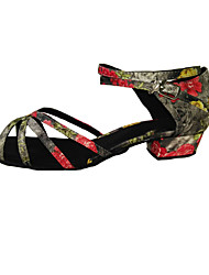 """cheap -Women's Latin Leatherette Satin Heel Indoor Beginner Practice Buckle Low Heel Multi Color Tan Black 1"""" - 1 3/4"""" 2"""" - 2 3/4"""" 3"""" - 3 3/4"""""""