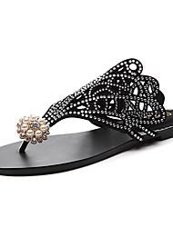 baratos -Mulheres Sapatos Gliter Primavera Verão Outono Chinelos e flip-flops Sem Salto para Casual Preto