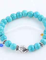 cheap -Natural Stone Turquoise Blue Matte Black Agate Elastic Bracelet Hand String Of Prayer Beads Whitebait Bracelets