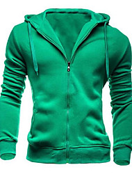Men's Daily Hoodie Jacket Solid Cotton Polyester Long Sleeve