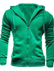 preiswerte -Herrn Solide Alltag Hoodie-Jacke Standard Langarm Baumwolle Polyester