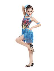 baratos -Dança Latina Vestidos Espetáculo Poliéster Elastano Lantejoulas Mocassim Sem Manga Alto Vestido Braceletes Neckwear Decoração de Cabelo