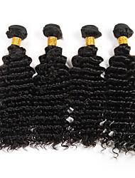 billige -4 pakker Brasiliansk hår Dyb Bølge / Krøllet væv Menneskehår, Bølget Menneskehår Vævninger Menneskehår Extensions
