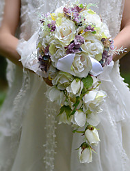 Bouquets de Noiva Forma-Livre Cascata Rosas Buquês Casamento Festa / noite Cetim Seda Organza