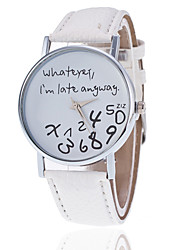 abordables -Mujer Reloj de Pulsera Reloj Casual PU Banda Moda / Reloj con palabras Negro / Blanco / Rojo