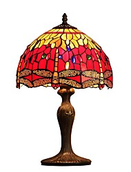 cheap -Red  Dragonfly,Tiffany Designed Table Lamps with 1 Light