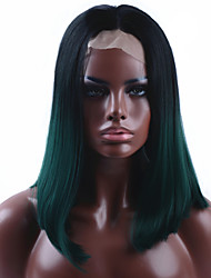 Ombre Dark Green Straight Short Bob Synthetic Lace Front Wigs Natural Black/Green Heat Resistant Hair Wig For Women
