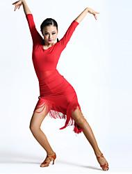 billige -Latin Dans Kjoler Dame Ydeevne Spandex Kvast Halvlange ærmer Høj Kjole