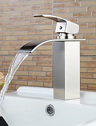 cheap -Stylish Single Handle Nickel Brushed Waterfall Bathroom Sink Faucet