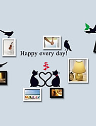 cheap -Romance Happy Every Day Lovely Cat Wall Stickers Match Photo DIY Wall Decals