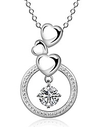 cheap -Women's Cubic Zirconia Choker Necklace / Pendant Necklace / Statement Necklace - Sterling Silver, Zircon, Cubic Zirconia Heart, Love Fashion White Necklace Jewelry For Wedding, Party, Daily